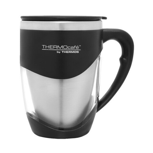 Thermos Thermocafe Stainless Steel Inner Double Wall Desk Mug 375ml - Black