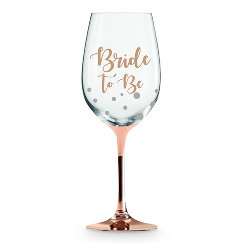 Rose Stem Bride To Be Wine Glass