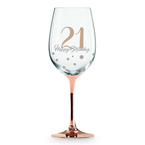 Rose Stem 21st Birthday Wine Glass