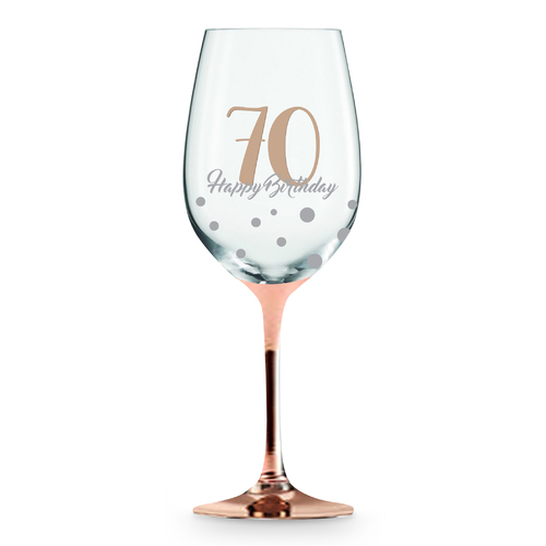 Rose Stem 70th Birthday Wine Glass