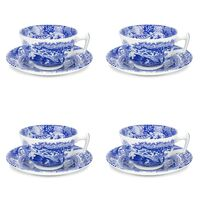 Spode Blue Italian - Teacup & Saucer (Set of 4)