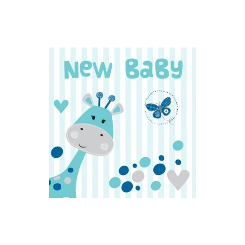 Greeting Card - New Baby Blue GIraffe