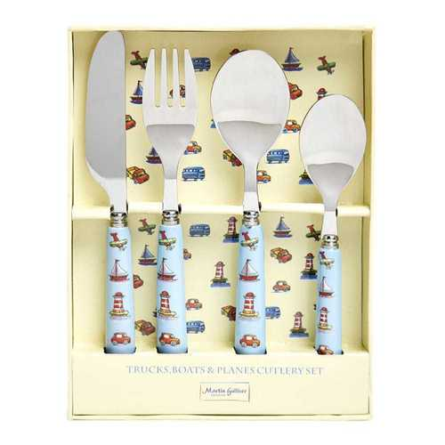 Martin Gulliver Designs Children's Cutlery Set - Trucks, Boats and Planes