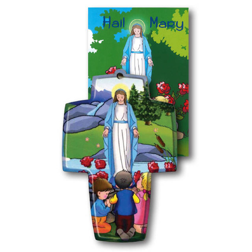 Wooden Cross And Book Set - Hail Mary