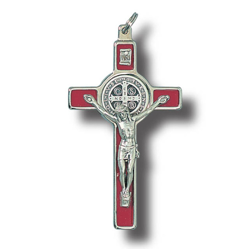 Red St Benedict Wall Crucifix - 8cm Metal & Enamel