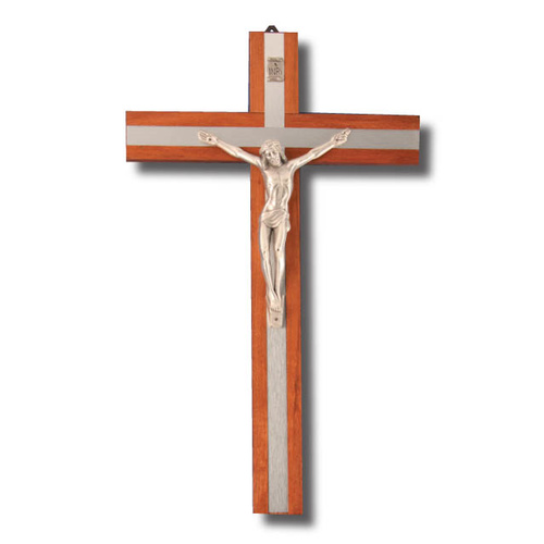 Wall Crucifix - 25cm x 15.5cm - Wood/Metal Finish