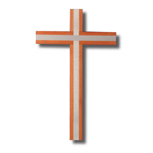 Wall Cross - 40cm x 24cm Wood with inlaid Silver