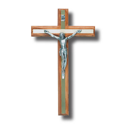 Wall Crucifix - 25cm x 2cm Olive Wood & Metal