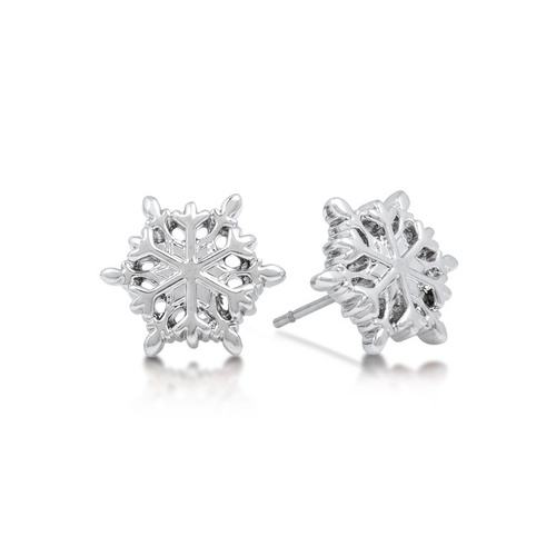 Disney Couture Kingdom - Frozen - Snowflake Stud Earrings White Gold
