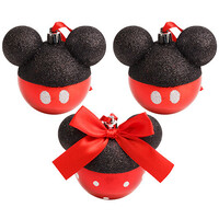 Disney - Mickey and Minnie Mouse Head Christmas Baubles Set of 3