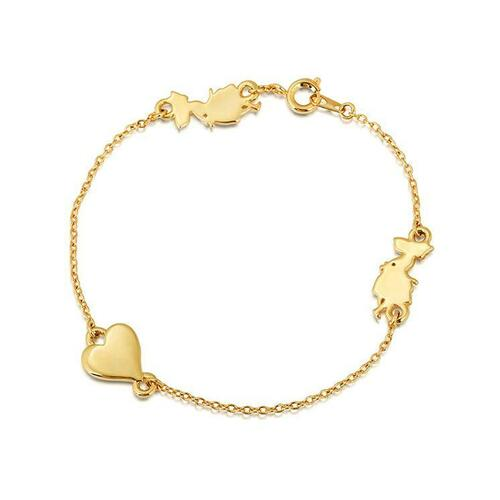 Disney Couture Kingdom - Alice In Wonderland - Heart Bracelet Yellow Gold