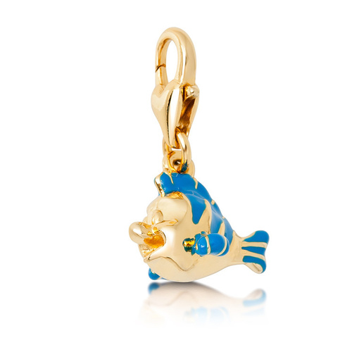 Disney Couture Kingdom - The Little Mermaid - Flounder Bracelet Charm Yellow Gold