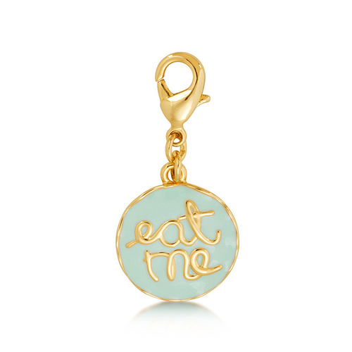 Disney Couture Kingdom - Alice in Wonderland - Eat Me Necklace Charm Yellow Gold