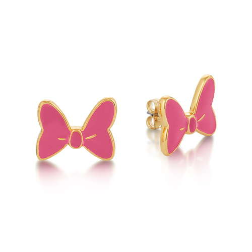 Disney Couture Kingdom - Minnie Mouse - Pink Bow Stud Earrings Yellow Gold
