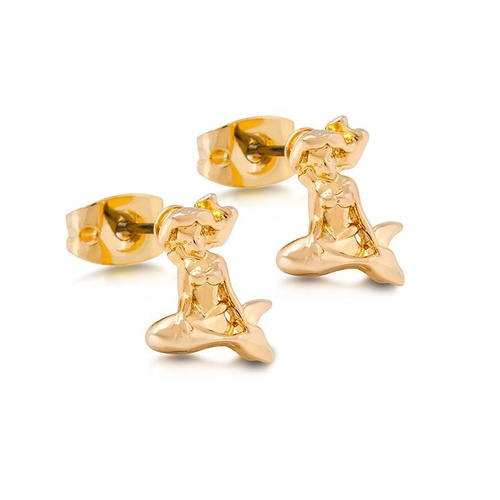 Disney Couture Kingdom - The Little Mermaid - Ariel Stud Earrings Yellow Gold