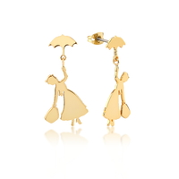 Disney Couture Kingdom - Mary Poppins - Flying Umbrella Drop Earrings Yellow Gold