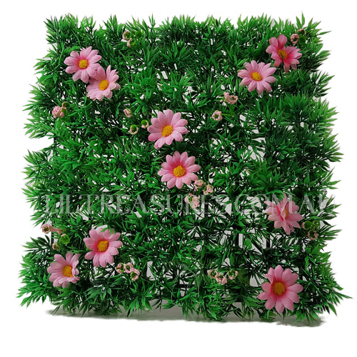 Grass Mat With Pink Daisies