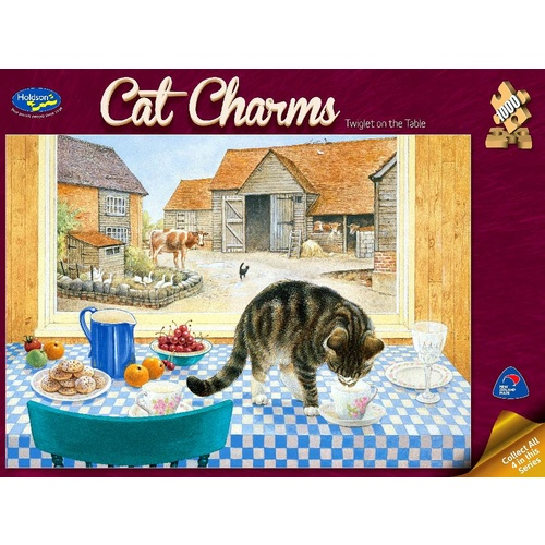 Holdson Cat Charms Twiglet On The Table Puzzle 1000 Pieces
