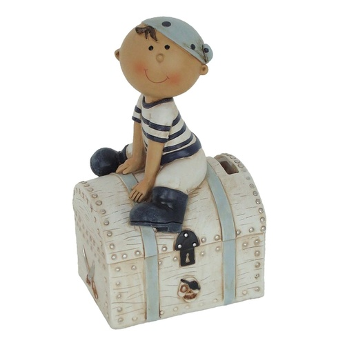 Pirate Money Bank - Pirate with Treasure Chest Blue/White