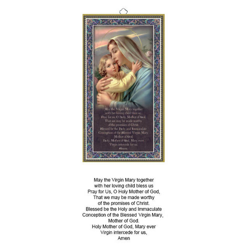 Hanging Wood Plaque With Prayer - Mother and Child
