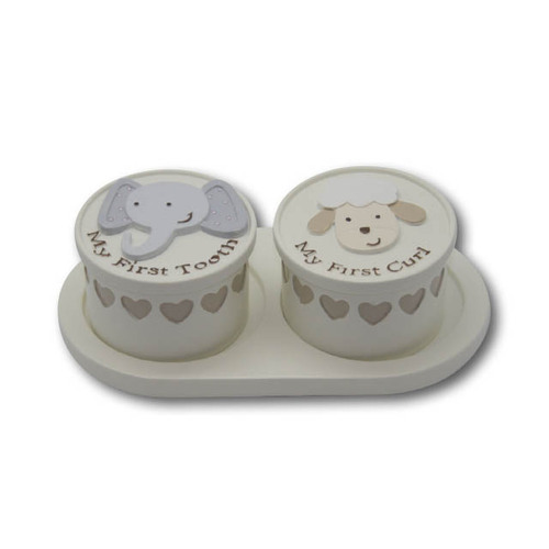 Noahs Ark Baby 1st Tooth And Curl Keepsake Set