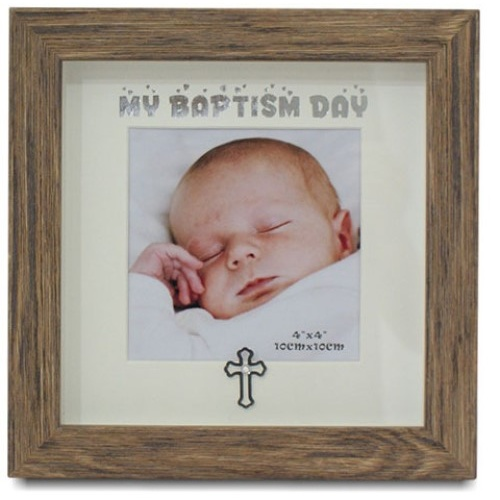 My Baptism Day Photo Frame - Timber Look