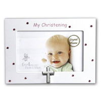 Christening Crystal Photo Frame - Pink