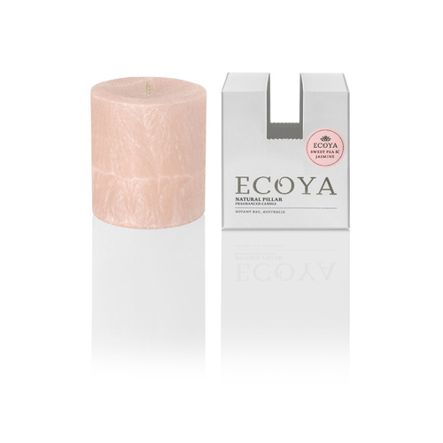 Ecoya Small Coloured Pillar Candle - Sweet Pea & Jasmine
