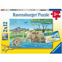 Ravensburger Puzzle 2x12pc - Baby Safari Animals