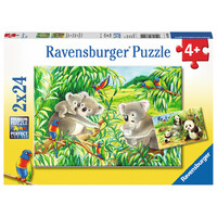 Ravensburger Puzzle 2 x 24pc - Sweet Koalas and Pandas
