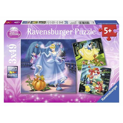 Ravensburger Puzzle 3x49pc - Disney Princess - Snow White, Cinderella and Ariel
