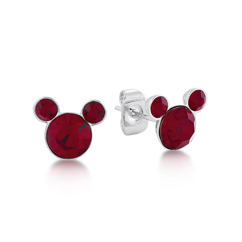 Disney Couture Kingdom - Mickey Birthstone Earrings - January Garnet