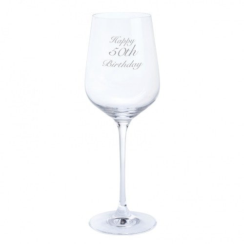 Dartington Crystal Happy 50th Birthday Wine Glass