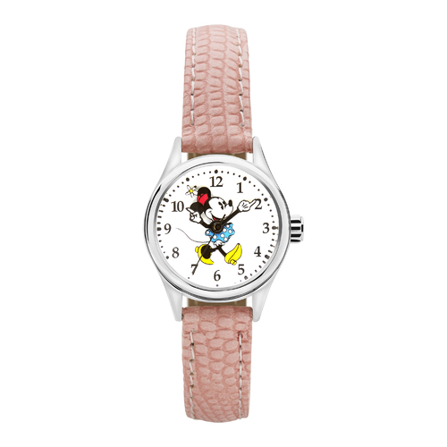The Original Mickey Collection Watch - Silver + Croc Pink 25mm Ft Minnie