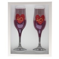 Flutes - 40 Ruby Hearts (Set of 2)