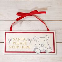 Disney Christmas By Widdop And Co Hanging Plaque: Santa Stop Here