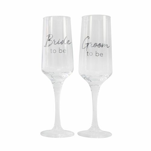 Engagement Bride & Groom To Be Flute Set by Splosh