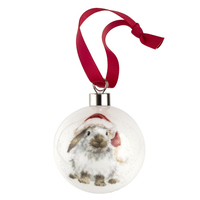 Royal Worcester Wrendale Christmas Bauble - Ho Ho Ho Rabbit