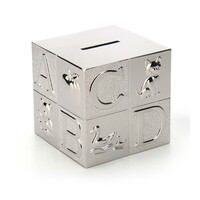 Whitehill Baby - Silver Plated Money Box - Alphabet Cube