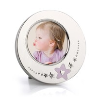 Whitehill Baby - Silver Plated Photo Frame - Pink Star Round