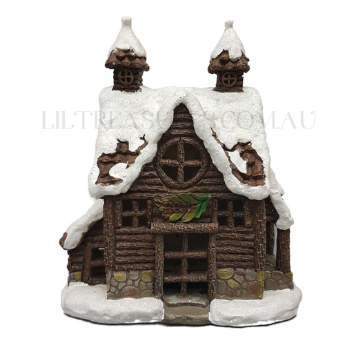 Solar Christmas Village - Winter Log House